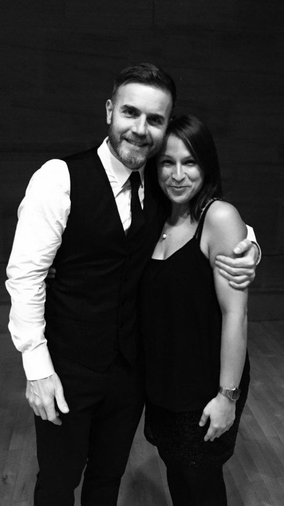 Gary Barlow with personal fridge cleaner Sarah Blake